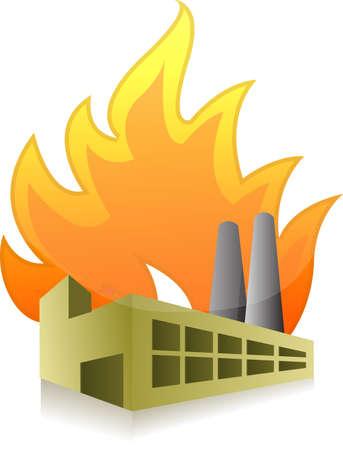 工場火災イラスト デザイン、白い背景の上に