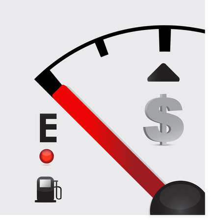dashboard background: dollar sign Gas tank almost empty - illustration design Illustration