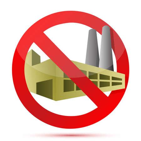 白い背景の上サイン イラスト デザインを禁止工場