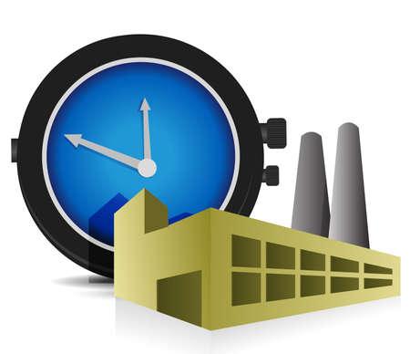 Zeit Factory-Illustration, Design, über einem weißen Hintergrund Standard-Bild - 14051384