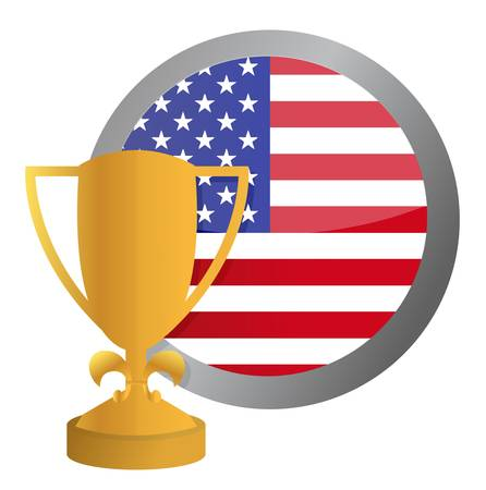 nosotros bandera y el dise�o de oro del trofeo ilustraci�n m�s de blanco Foto de archivo - 15113487