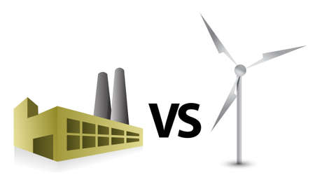 factory vs windmill energy illustration concept design Çizim