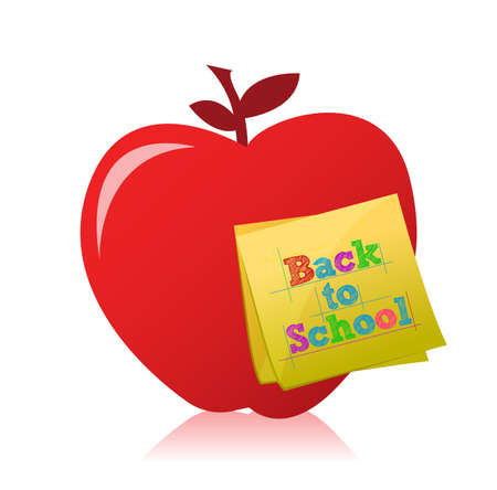 back to school apple illustration design over white Vector