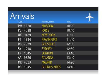 흰색 배경 위에 공항 도착 시간표 그림 디자인 일러스트