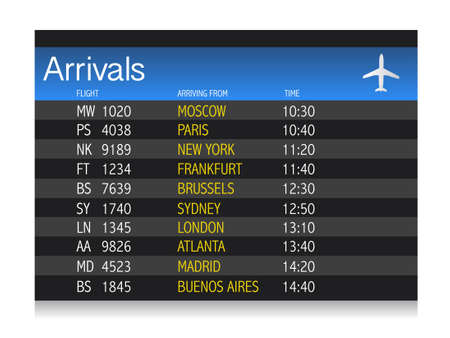 Airport arrival timetable illustration design over white background