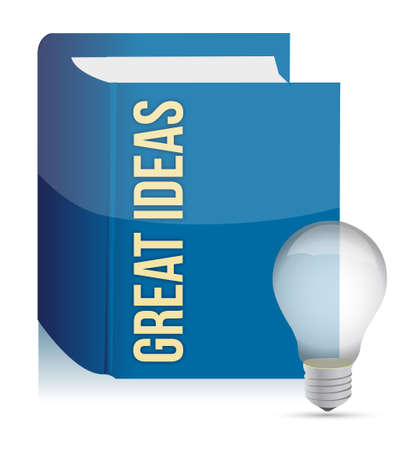 Great ideas book and lightbulb illustration design over white Stock Vector - 15113497