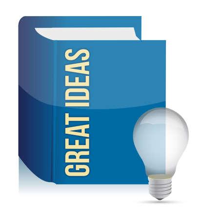 Great ideas book and lightbulb illustration design over white Stock Vector - 15113497