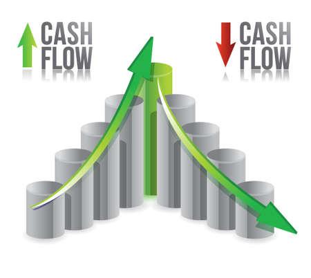 flujo de dinero: el flujo de caja ilustraci�n gr�fica sobre un fondo blanco Vectores