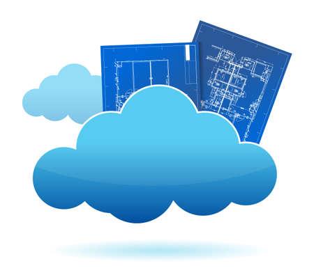 blueprint plants cloud storage concept illustration design  Stock Vector - 15123978