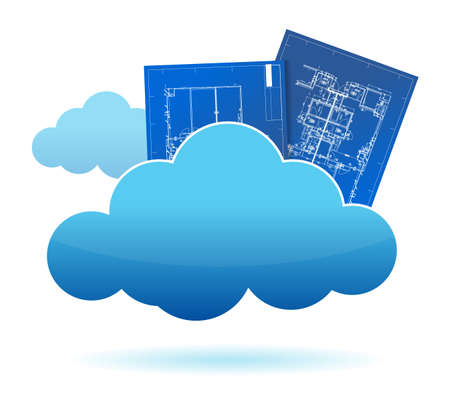 storage: blueprint plants cloud storage concept illustration design