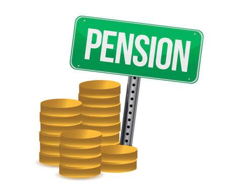 pensioen: Munten en pensioen teken illustratie ontwerp over white