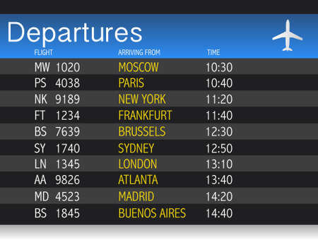 Airport time Departure table illustration design over white Vectores