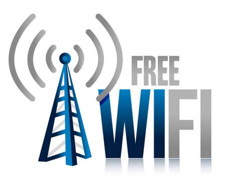 wifi access: wifi gratuito torre design illustrazione su sfondo bianco