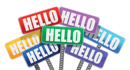 hello signs illustration design over a white background Vector
