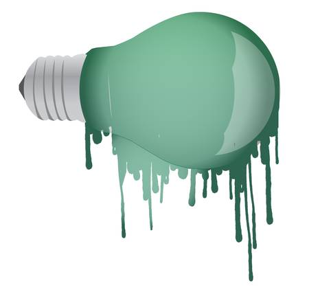 ink dropping lightbulb illustration design over white background Vector