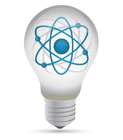 atom inside a lightbulb illustration design over white Stock Vector - 15113491
