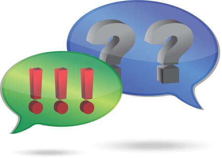 Question and exclamation marks in speech bubbles illustration design 向量圖像