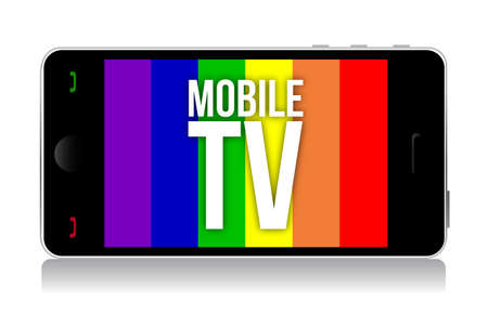 Mobile tv illustration design over a white background Vector