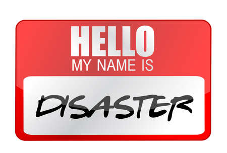 owe: Hello my name is disaster name tag illustration design