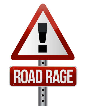road ahead:  road traffic sign with a road rage concept