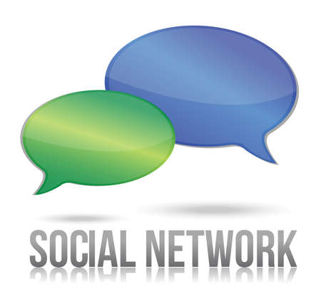 social network message bubble illustration design over white Ilustração