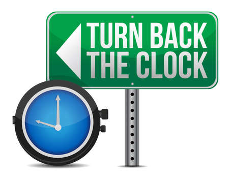 remorse: roadsign with a turn back the clock concept