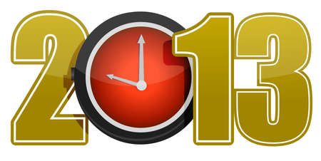 New year 2013 concept with red clock illustration Vector