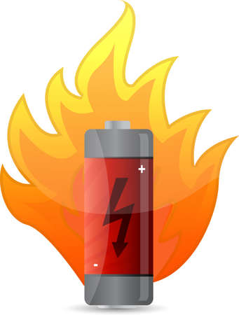 battery on fire illustration design over white Ilustração