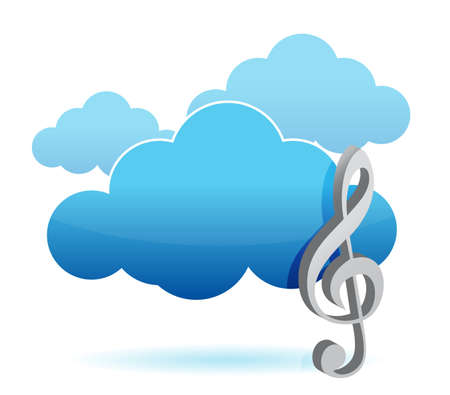 Cloud music storage concept illustration design over white Vector