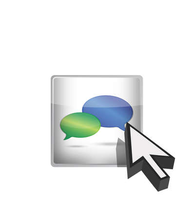 Chat icon button and cursor illustration over white Vector