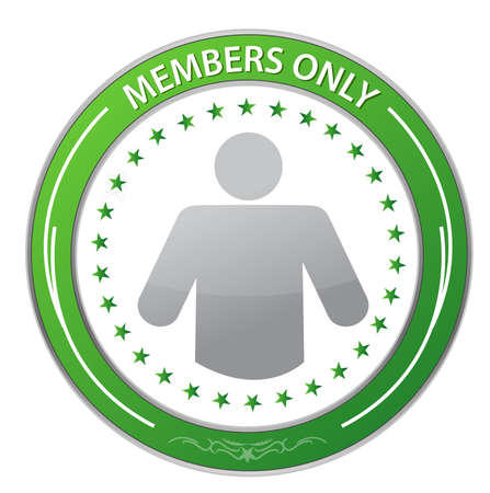 only members: Members Only Circle Stamp illustration design over white Illustration