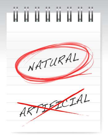 chose: scelto naturale su design illustrazione artificiale