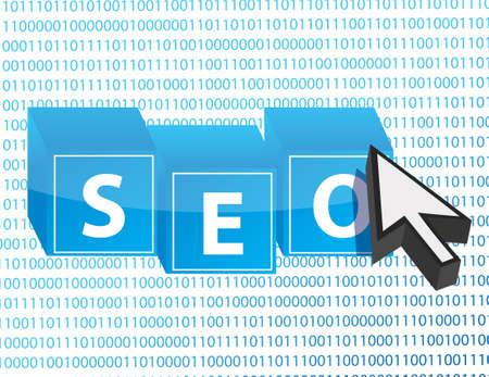 SEO button and arrow cursor over binary background Stock Vector - 15123969