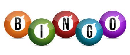 brightly coloured bingo balls illustration design  Illustration