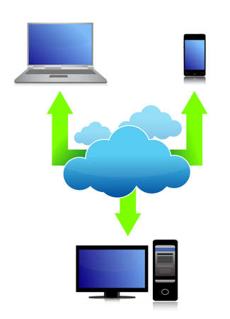 remote access: illustration of Cloud computing concept design over white