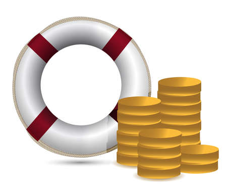 coins and lifesaver illustration design over white Stock Vector - 15174561