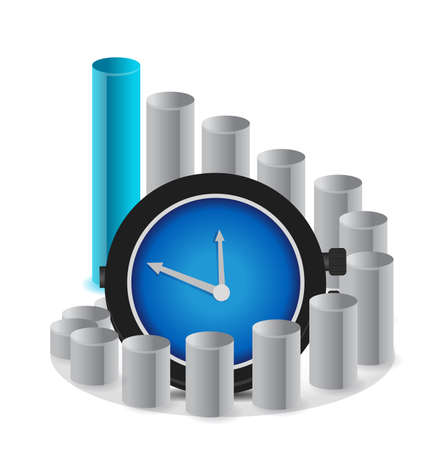 information analysis: A graph with clock a business concept illustration Illustration
