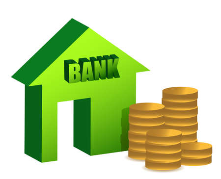 market place: Bank and coins illustration design over white Illustration