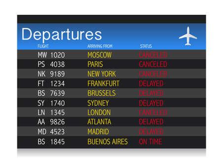 空港危機発表 - 遅延し、フライトのキャンセル