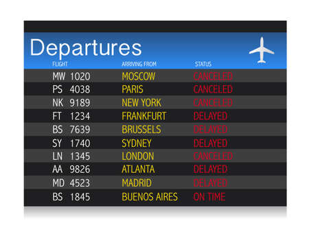 departure board: Airport crisis departure table - delayed and cancelled flights