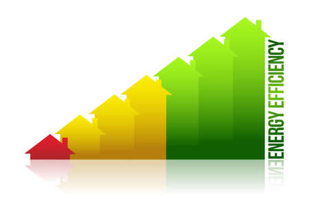 energy efficiency house graph illustration design over white Vector