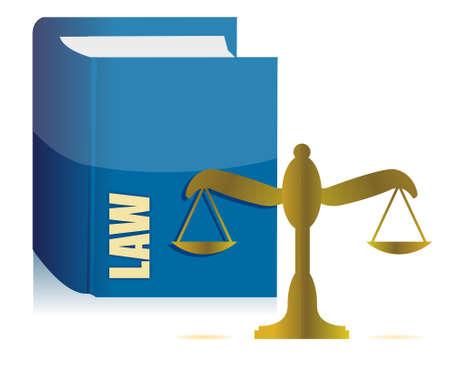 criminal law: Law book and balance illustration design over white Illustration