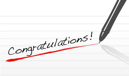 congratulations written on a notepad paper with pen 일러스트