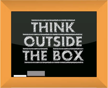 think outside the box title blackboard illustration Stock Vector - 15237508