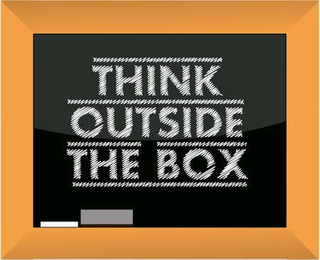 afflatus: think outside the box title blackboard illustration