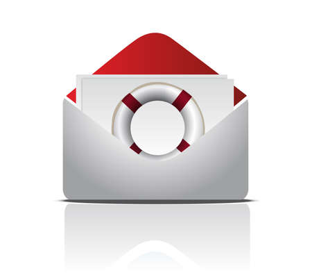 Open Envelope With Life Buoy illustration design over white Иллюстрация
