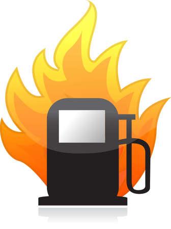 Gas pump on fire illustration design over white
