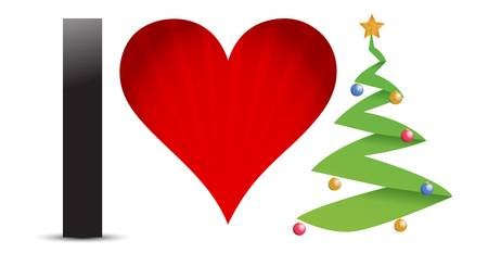 Christmas concept  I Love Christmas  illustration design