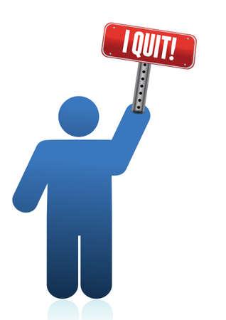 renuncia: Abandon� el icono con el signo ilustraci�n dise�o Vectores