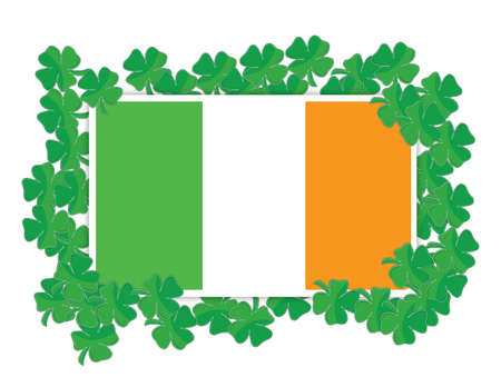 Irish flag around Shamrocks illustration design over white Vector